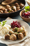 Homemade Swedish Meatballs with Cream Sauce Royalty Free Stock Images