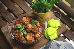 Homemade Meatballs with Cream Sauce and Parsley stock images