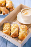 Homemade sweet bread rolls stuffed with cheese. Stock Photo