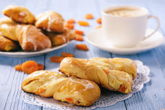 Homemade sweet bread rolls stuffed with cheese. Stock Photos