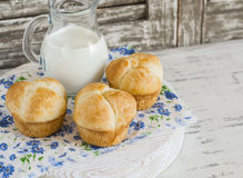 Homemade sweet brioches and milk Royalty Free Stock Photos