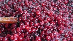 Homemade sweet cherry jam stock video footage
