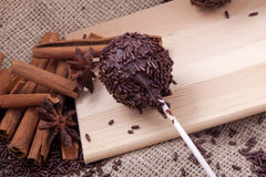 Homemade sweet chocolate cake pops Royalty Free Stock Images