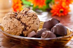 Sweet chocolate ice cream. Homemade Sweet chocolate ice cream stock photo
