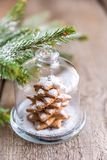 Homemade sweet Christmas tree under the glass dome Stock Photo