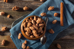 Homemade Sweet Cinnamon Coated Almonds. Ready to Eat royalty free stock photos