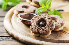 Homemade sweet cookie with chocolate Stock Photography