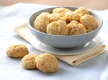 Homemade sweet cookies with sesame seeds Stock Images