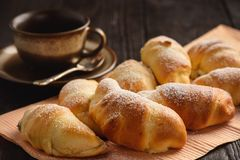 Homemade sweet croissants stuffed with cheese. Royalty Free Stock Photography