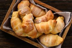 Homemade sweet croissants stuffed with cheese. Royalty Free Stock Image