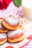 Homemade sweet donuts with jam stock images