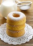 Homemade sweet donuts with powdered sugar Stock Photography