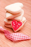 Heart cookies with ribbon Stock Photo