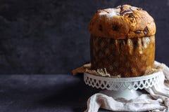 Homemade sweet Italian panettone cake stock image