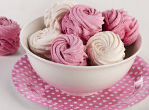 Homemade sweet marshmallow - Zephyr in a bowl. Royalty Free Stock Images