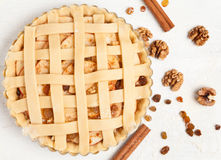 Homemade sweet pastry apple pie preparation. Raw Royalty Free Stock Photography