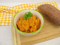 Homemade sweet potato puree Royalty Free Stock Images