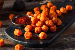 Homemade Sweet Potato Tater Tots. With Ketchup Royalty Free Stock Images