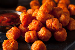 Homemade Sweet Potato Tater Tots. With Ketchup Stock Image