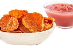Homemade sweet potatoes chips Royalty Free Stock Photo