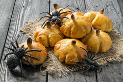 Homemade sweet pumpkin buns for Halloween Royalty Free Stock Image