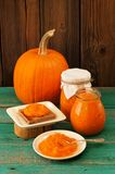 Homemade sweet pumpkin jam on rye toast, in white plate and in g Stock Image