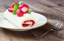Homemade Sweet roll with Strawberry jam and berries Royalty Free Stock Photos