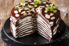 Homemade sweet sliced chocolate crepes cake with whipped cream a stock image