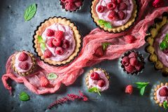 Homemade and sweet tarts made of berries and cream Royalty Free Stock Images