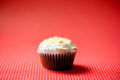Homemade sweet vanilla and chocolate cupcake with buttercream Stock Images