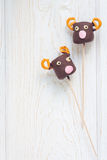 Homemade sweetness made with marshmallow, chocolate and pretzel, copy space Royalty Free Stock Photos