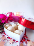 Homemade sweets in a box. Homemade sweets covered with coconut flakes are lying in the heart-shaped box royalty free stock photo