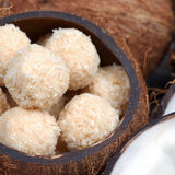 Homemade sweets in a coconut bowl Stock Photos