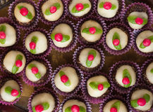 Homemade sweets with marzipan. On a tray Stock Photo