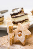 Homemade sweets in shape of a star with cookies Royalty Free Stock Images
