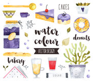 Homemade Sweets Watercolor Vector Objects Stock Image