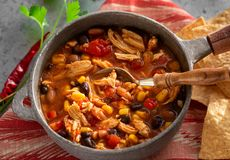 Homemade Taco Chicken Soup With Corn Chips Royalty Free Stock Photography