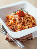 Homemade tagliatelle pasta with bolognese sauce Royalty Free Stock Photography