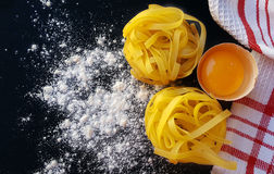 Homemade tagliatelle pasta with eggs Stock Photography