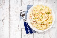 Homemade tagliatelle with salmon and dill top view Stock Photography