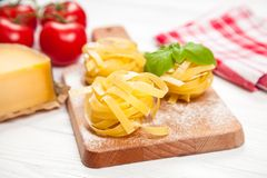 Homemade tagliatelle Stock Images