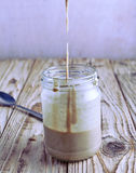 Homemade tahini sauce in jar Stock Photos