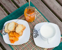 Homemade tangerine marmalade on the small square dessert plate Royalty Free Stock Photos