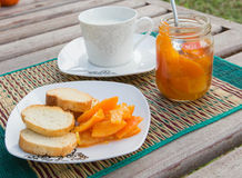 Homemade tangerine marmalade on the small square dessert plate Stock Photography