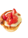 Homemade tart with custard and strawberry, isolated Royalty Free Stock Photo