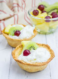 Homemade tartlets with whipping cream Royalty Free Stock Photos