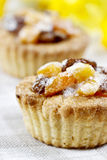 Homemade tarts with dried fruits on checked table cloth Stock Image