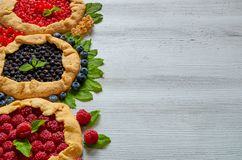 Homemade tarts with fresh blueberries, raspberries, red currants on the gray background. Vegetarian berries galette. Decorated with mint. Delicious healthy Stock Photography