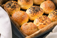 Homemade tasty buns with sesame and cumin Royalty Free Stock Photo