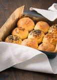Homemade tasty buns with sesame and cumin Stock Photos